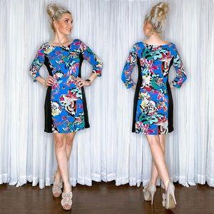 Butterfly Pattern Long Sleeve Blue Dress